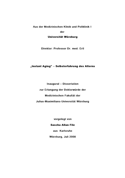 Dissertation: Instant Aging – Selbsterfahrung des Alterns